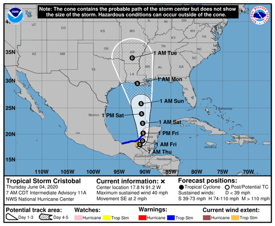 Tropical Storm Cristobal is expected to hit Louisiana on Monday morning, and will arrive in the Greater Memphis area early Tuesday morning.