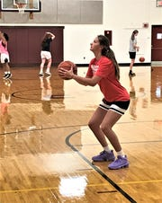 Berne Union senior Bella Kline gets set to shoot a free throw during the Lady Rockets' Wednesday morning workout.