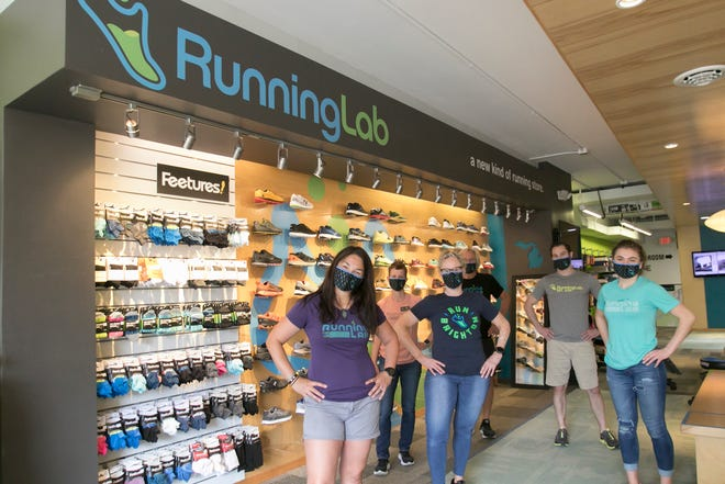 Running Lab in downtown Brighton has received national recognition. Shown in the store Wednesday, June 3, 2020 are, from left, store Manager Toni Reese, Jen Crutchfield, Assistant Manager Kimberly Bastian, Paul Doby, Keith McCaffery and Elizabeth Brent.