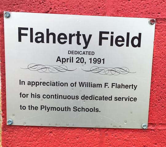 "A sign on the visitor's dugout commemorates William F. ""Pops"" Flaherty. The baseball field the Plymouth Big Red play on is named in his honor."