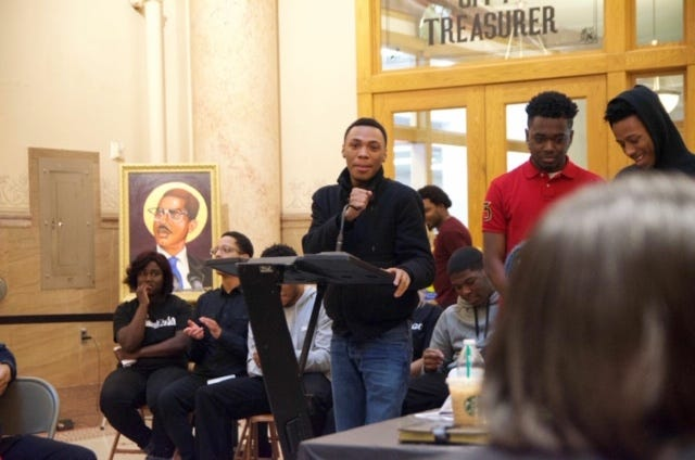 Elijah Johnson, now 21, speaks at a youth summit at Milwaukee's City Hall in 2017. The summit was part of his ethnic studies class, which included programming on Black Lives Matter, a course he called the most powerful of his educational care.