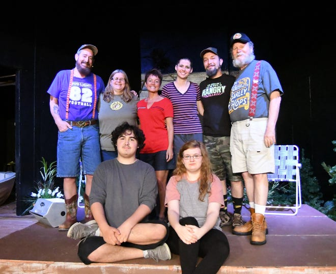 """The cast and crew of """"Catfish Moon"""" gather onstage Tuesday evening for a group photo. The Twin Lakes Playhouse will re-open Friday, June 12, with limited seating capacity and the requirement that all audience members must wear face masks."""