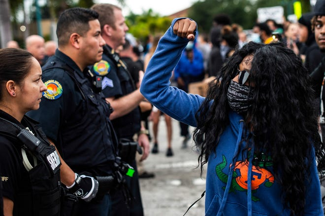 Protesters take to the streets on Marco Island, Fla. on June 3, 2020. Protests have broken out worldwide as part of the tragic death of George Floyd in Minneapolis.