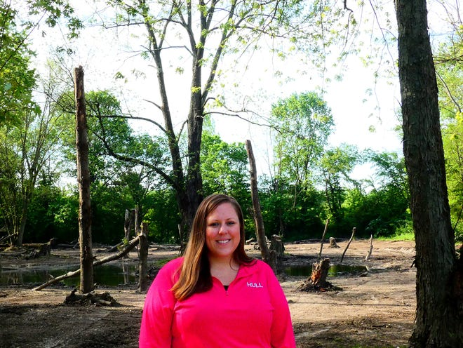 Ecologist Jackie Bruns works for Hull & Associates Inc. One of her currents projects through Hull is working to restore a wetland area in Hebron.