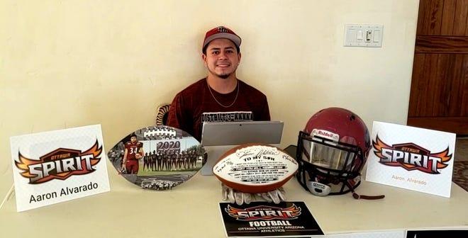 Recent Deming High graduate Aaron Alvarado did a virtual signing to play football at Ottawa University.