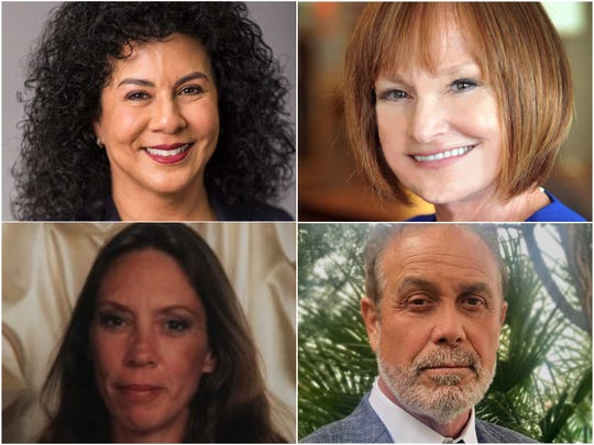 The two highest performing candidates in each county commission primary: From top left, Susana Chaparro, Debra Hathaway, Stacie Michelle Durham and Richard Reynaud.