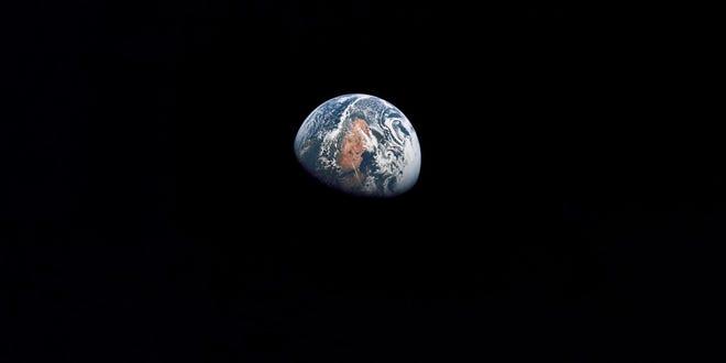 An Apollo 10 photograph of Earth taken from 100,000 miles away.