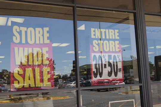 Signs announce a closing sale at Bealls, June 4, 2020 in Carlsbad.