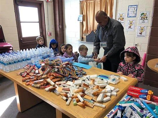 Making Blessing Bags at St. Frances Cabrini Catholic School in Alamogordo.