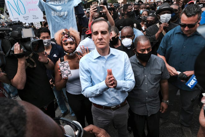 Mayor Eric Garcetti meets with Black Lives Matter protesters in downtown Los Angeles on Tuesday, June 2.
