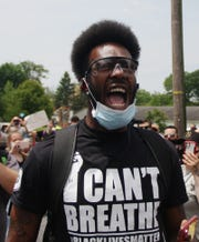 Joshua Spaulding of Lebanon gets vocal during a police brutality protest held in Lebanon on Thursday, June 4, 2020.