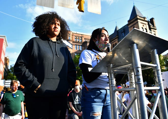 Co-organizers Tzipporah Goins, left and Arlette Morales, both 17, and both of York City, speak as more than 1,000 gather for the York Black Lives Matter Peaceful Protest in York City, Tuesday, June 2, 2020. It would be the second day of larger scale protests in the city following the death of George Floyd, a Minnesota man who died in police custody on May 25. Dawn J. Sagert photo