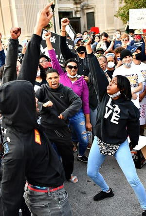 Protesters dance following the York Black Lives Matter Peaceful Protest, with more than 1,000 in attendance, in York City, Tuesday, June 2, 2020. It would be the second day of larger scale protests in the city following the death of George Floyd, a Minnesota man who died in police custody on May 25. Dawn J. Sagert photo
