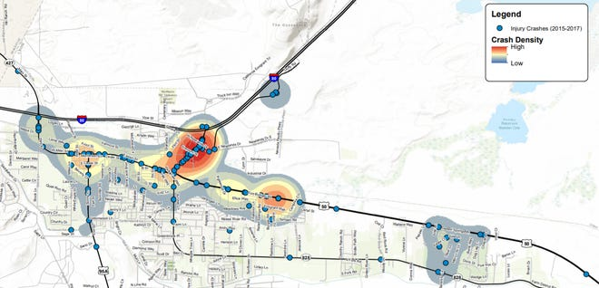 A map shows high-crash areas in Fernley.