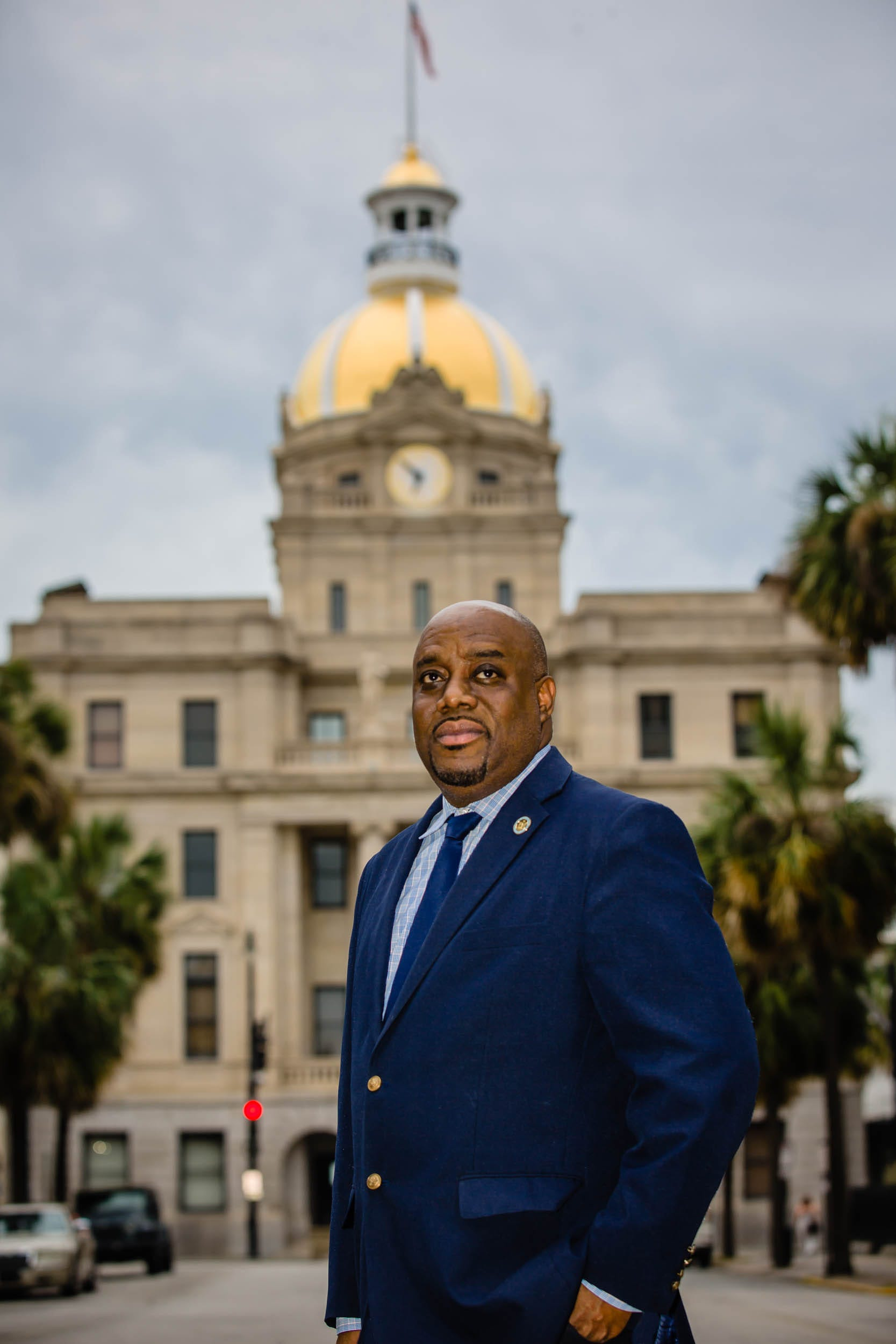 Savannah Mayor Van Johnson II stands in front of Savannah City Hall, where hundreds gathered Sunday, May 31, 2020, to peacefully protest the killing of George Floyd.