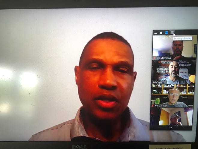 Bills defensive coordinator Leslie Frazier during a Zoom call with reporters Thursday.