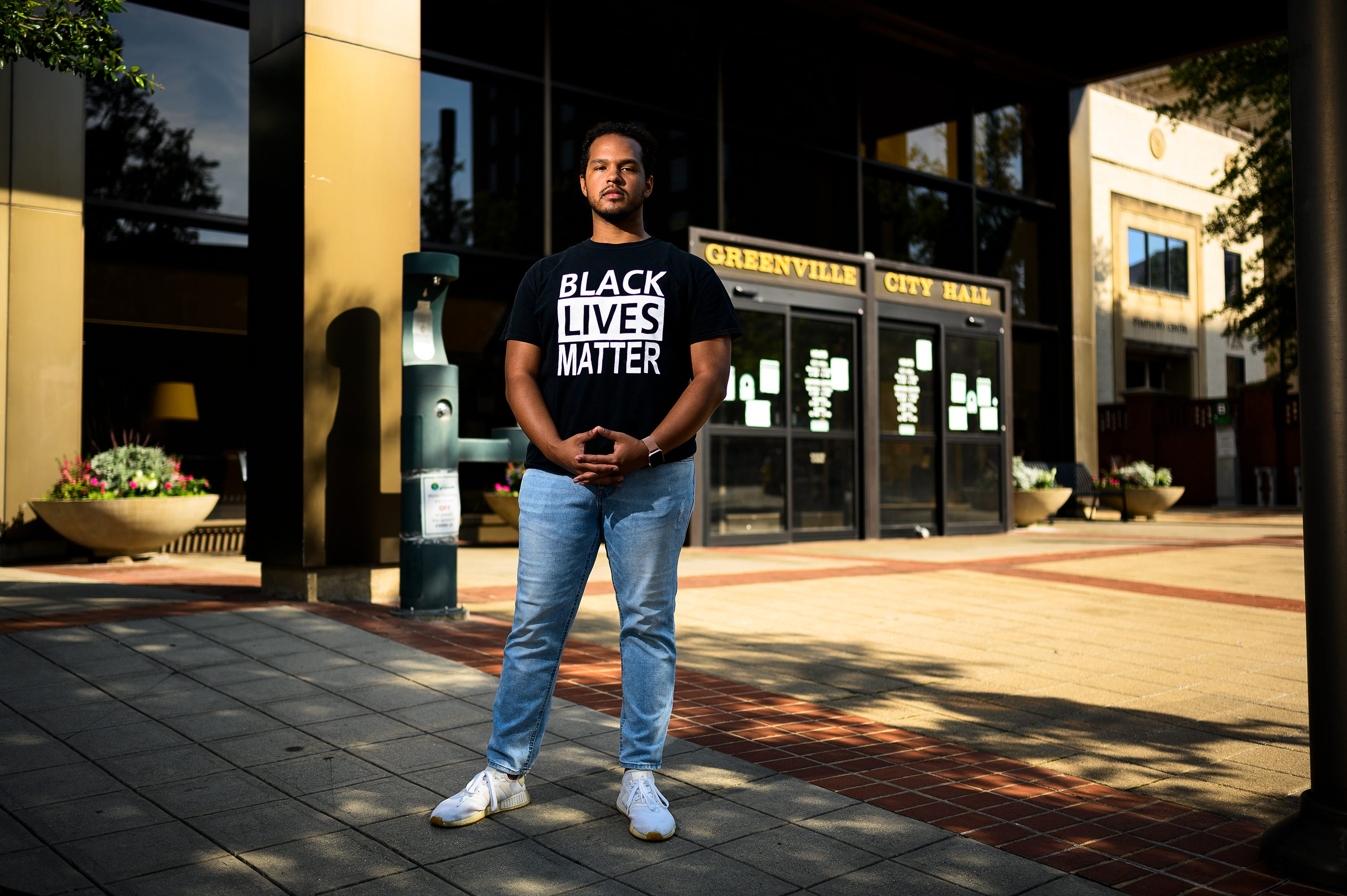 Taurice Bussey, an activist based in Greenville, S.C., poses for a portrait downtown, where numerous demonstrations occurred in the wake of George Floyd's death in Minneapolis June 4, 2020.