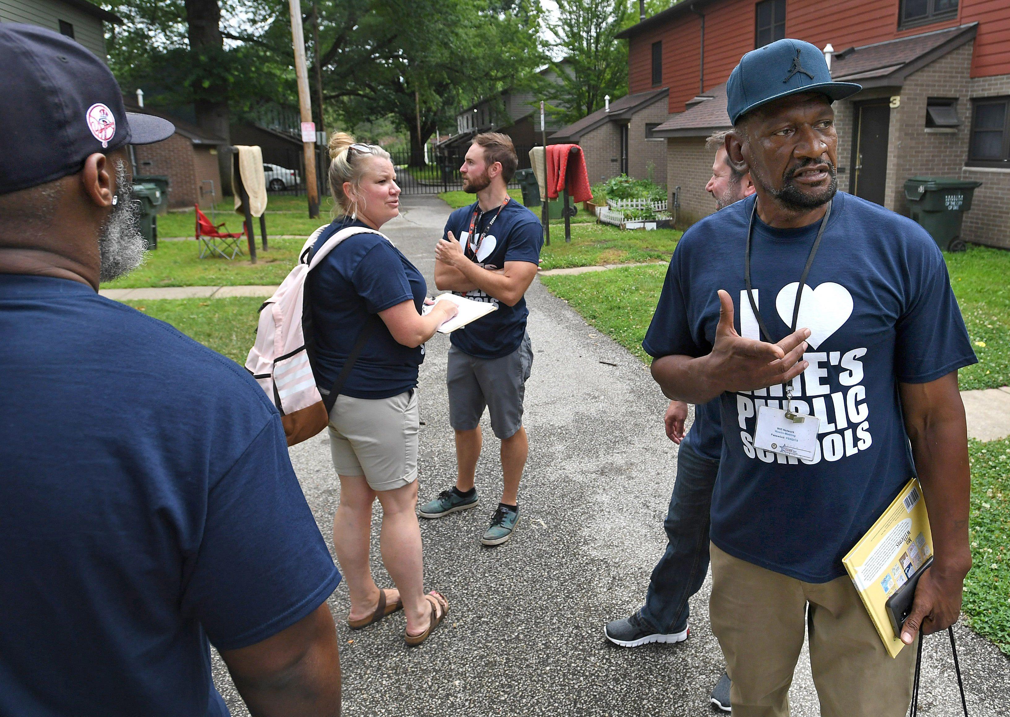 Daryl Craig, far right, was part of an Erie School District door-to-door team in 2019.