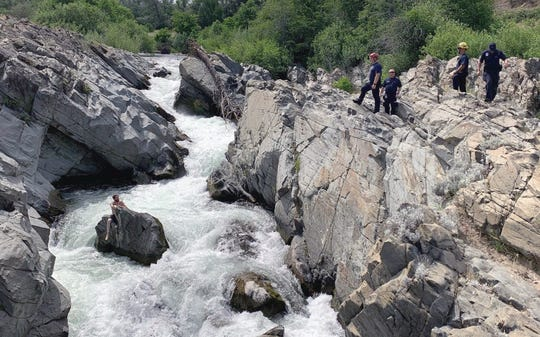 Personnel from a number of agencies went to Clear Creek south of Redding to safely rescue 38-year-old Matthew Ramey of Red Bluff on Wednesday, June 3, 2020.
