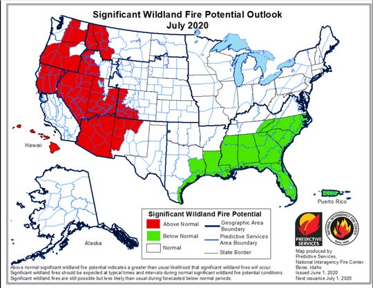 Projected wildfire danger across the West is expected to be above normal by July of 2020, according to the National Interagency Fire Center.