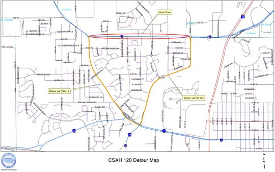 Resurfacing will detour traffic off of County State Aid Highway 120 in St. Cloud for about three weeks beginning Monday, June 8, 2020.