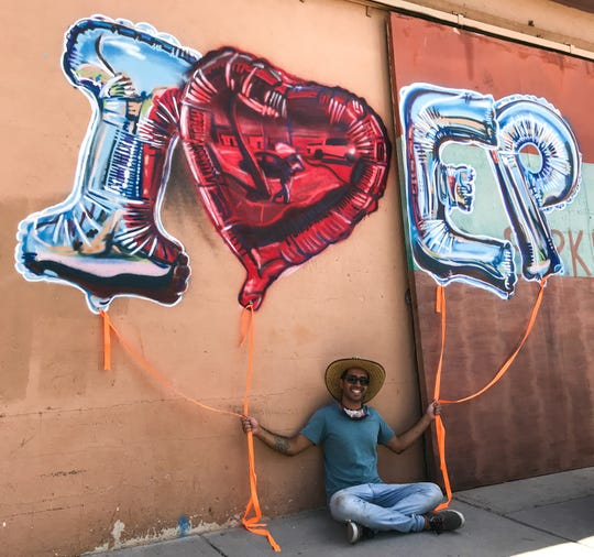 El Paso artist and Galeria Lincoln co-owner Tino Ortega painted the new mural at Old Sheepdog Brewery,  3900 Rosa Ave. He dedicated it to the victims of the Aug. 3, 2019, mass shooting at an East Side Walmart. He is shown Thursday, May 28, 2020.