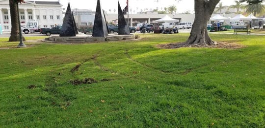 The lawn at Plaza Park was found damaged after a protest Wednesday in Oxnard.
