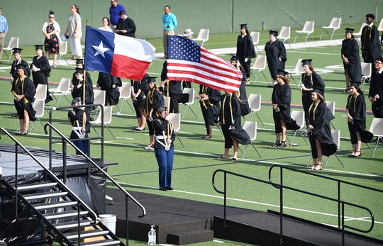 The colors were posted at the beginning of the Rider High School graduation ceremony at Memorial Stadium Thursday morning.