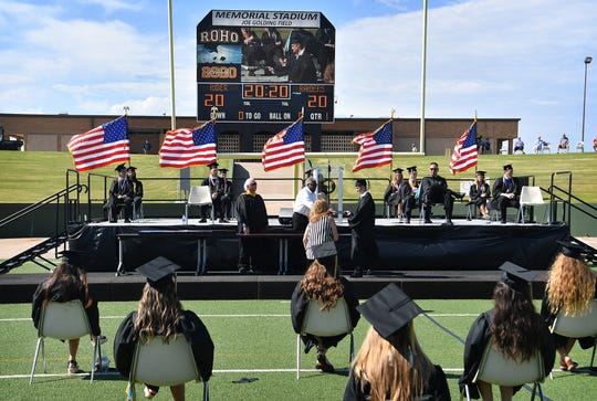 Graduating seniors of Rider High School received their diplomas Thursday morning during the first of three Wichita Falls ISD graduation ceremonies at Memorial Stadium.