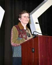 Kay Yeager, chairwoman for the Sheppard Military Affairs Committee, speaks at a SMAC event in 2019. The nonprofit organization works to protect the future of Sheppard Air Force Base.