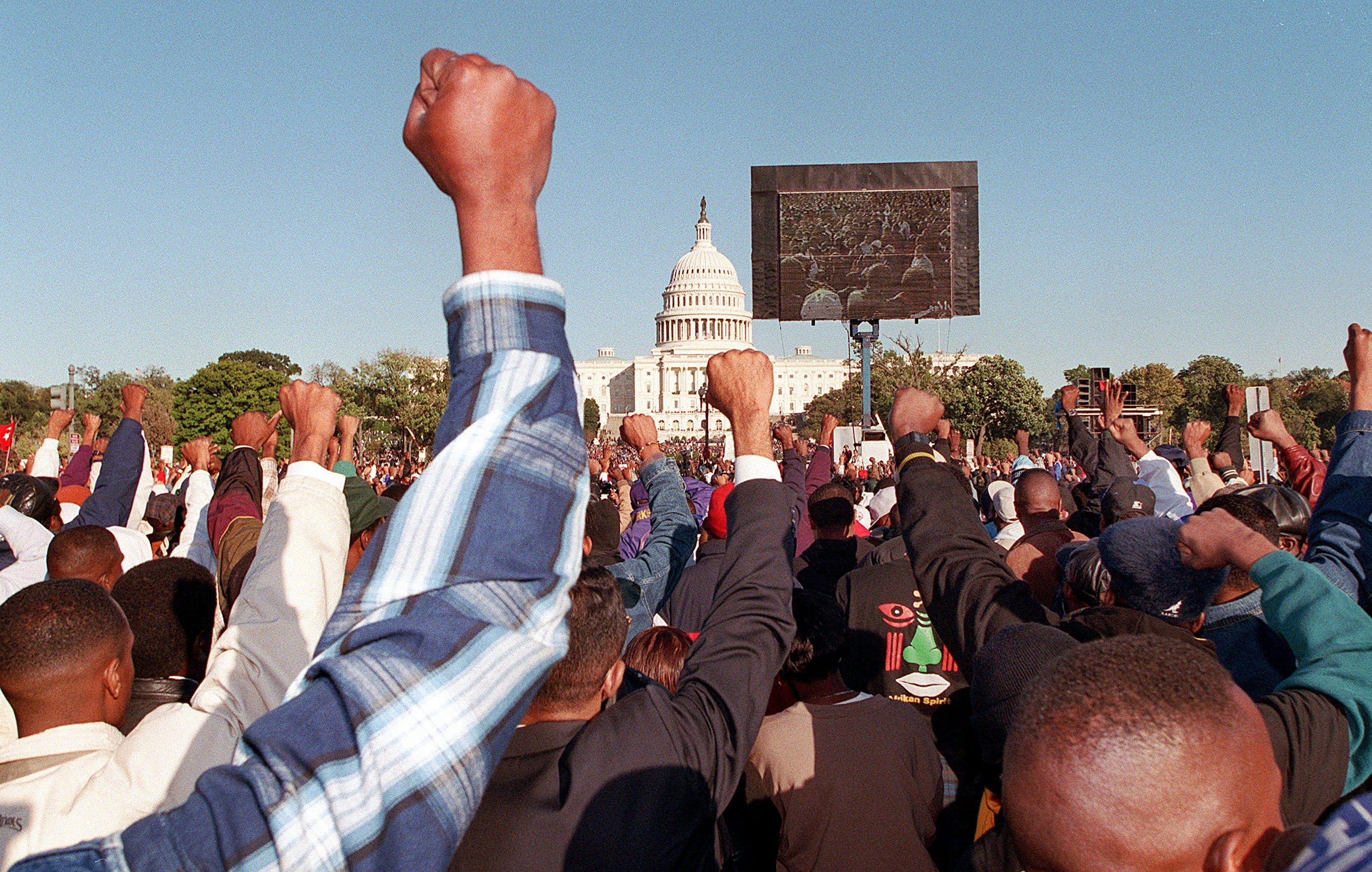 View of the mall during the Million Man March in Washington, D.C.
