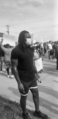 Miami Dolphins safety Kavon Frazier attended a protest in Frisco, Texas.