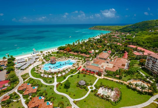 Sandals Grande Antigua is open on Dickenson Bay.