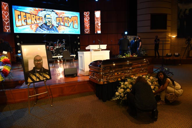 The casket containing the body of George Floyd is seen inside the Frank J. Lindquist Sanctuary at North Central University in Minneapolis, Minn., on June 4, 2020, before the start of a memorial service in his honor.