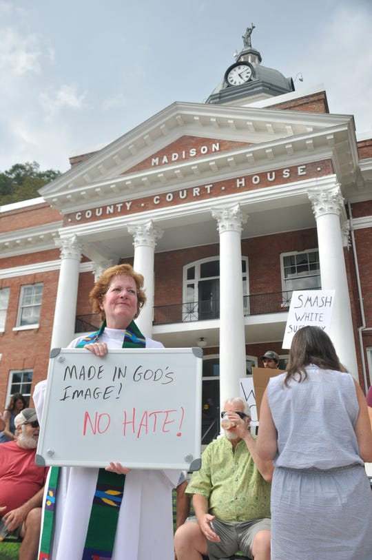 Following the death of an anti-racism activist in Charlottesville, Va., ROAR organized a rally honoring the victims of racial violence outside the Madison County Courthouse in August 2017. Rev. Melissa Upchurch of Marshall Presbyterian Church joined the peaceful demonstration.