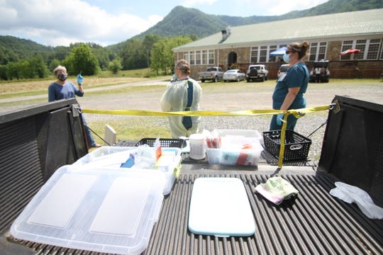 Testing materials loaded on the bed of a pickup remained sterile before nurses and lab tech worked to screen 50 residents for the coronavirus at a June 3 testing event in Spring Creek.