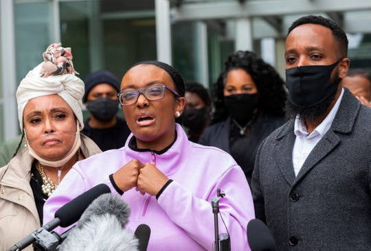 Monet Carter-Mixon, sister of Manuel Ellis, speaks at a press conference in front of the Pierce County Superior Court Thursday, June 4, 2020 regarding the killing of her brother by Tacoma police.