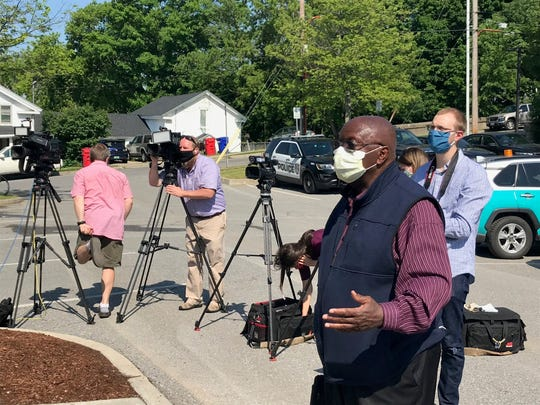 Symphorien Sikyala, an interpreter for the African community in Winooski, speaks at a news conference held at City Hall on Friday, June 5, 2020.