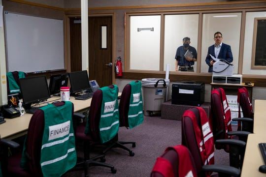 Corpus Christi City Manager Peter Zanoni tours the city's  emergency operations center with Emergency Management Coordinator Billy Delgado on Thursday, June 4, 2020.