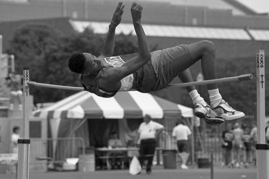 Butch Howard of Chillicothe competes in the high jump at the 1996 state track meet. He finished 14th in the Division I event by going 6-2.