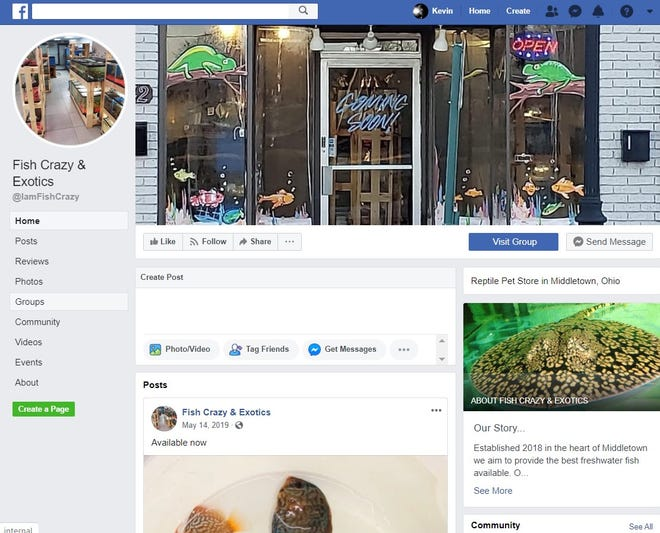 Facebook page for Fish Crazy & Exotics in Middletown.