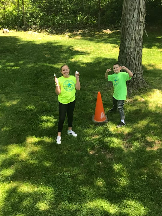 Madison and Hunter Slater enjoyed the egg relay races together.