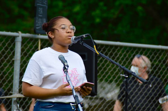 Imani Smith speaks to the crowd gathered at Gebhardt Field to support the Black Lives Matter movement.