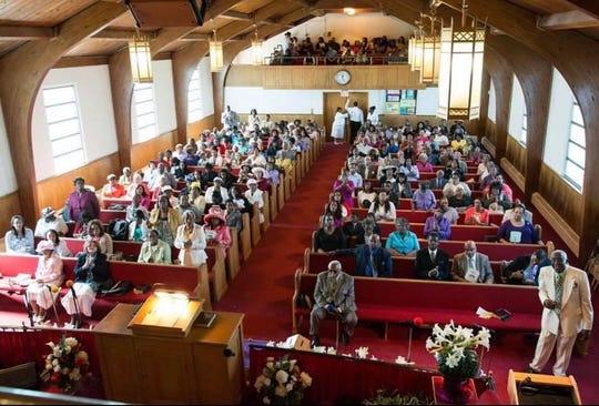 Sunday worship at New Brunswick's Sharon Baptist Church, which celebrates its 100th anniversary in July. Since March 24, the church has been forced to worship virtually on Facebook Live due to the pandemic.