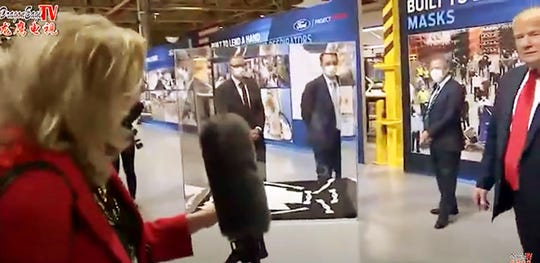 Picture from Rawsonville plant where they are making ventilators in the Covid-19 fight. President Trump is shown with Bill Ford and others during the tour. Columnist Carol Cain poses a few questions to them.