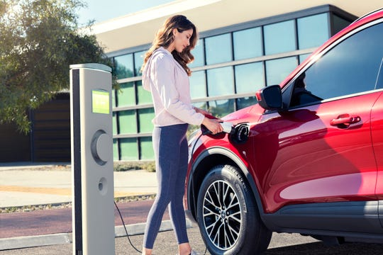 A 240v charger will give the Ford Escape pug-in hybrid 37 miles of electric range in 3.3 hours.