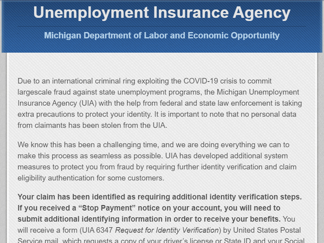 Michigan Says 340 000 Unemployment Claims Flagged For Fraud