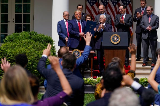 President Donald Trump speaks to the media during a news conference in the Rose Garden of the White House, Friday, June 5, 2020, in Washington.