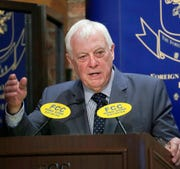 """This Sept. 19, 2017, photo shows Chris Patten, Hong Kong's last British governor. Patten, is urging protesters in Hong Kong not to """"lose faith"""" as Beijing appears to be tightening its control of the semi-autonomous city."""