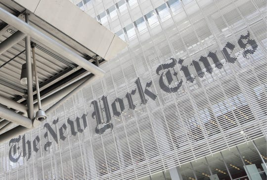 FILE - This June 22, 2019 file photo shows the exterior of the New York Times building in New York.